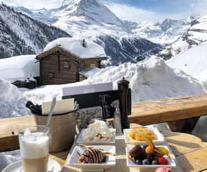 snow, winter, and breakfast image