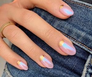 gold, nail design, and mermaid image