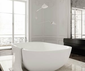 bathroom, bath, and white image