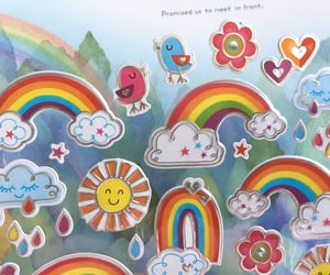 cute cloud, colorful rain, and cute weather image