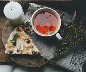 candle, tea, and pie image