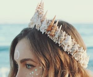 crown, mermaid, and beach image