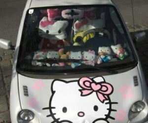 aesthetic, car, and hello kitty image