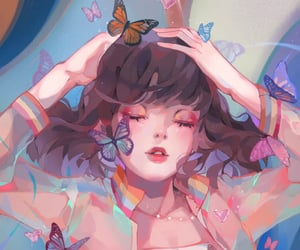 anime, butterfly, and digital art image