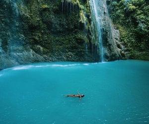 summer, waterfall, and beach image