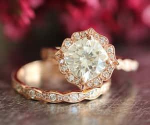 etsy, diamond engagement, and cushion cut ring image