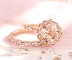 etsy, cushion cut ring, and peach morganite ring image