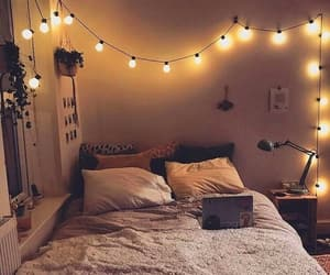 bed, cozy, and room image