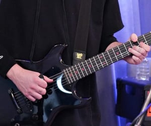 black, guitar, and hands image