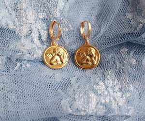 blue, earrings, and gold image
