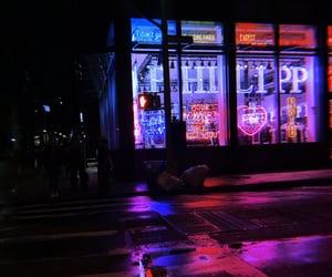 blue, crosswalk, and neon image