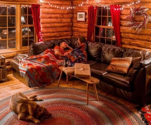 autumn, blankets, and cabin image