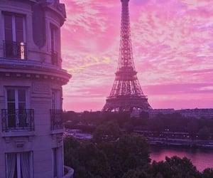 city, paris, and pink image