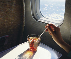 drink, plane, and travel image