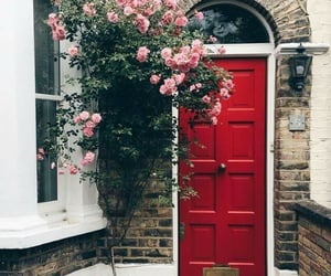 door, floral, and flowers image