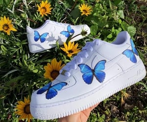 blue, butterfly, and nike image