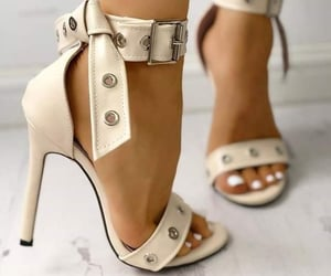 fashion shoes, high heels, and white heels image