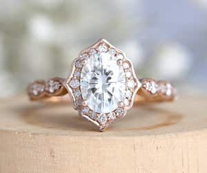 diamond ring, rose gold ring, and etsy image