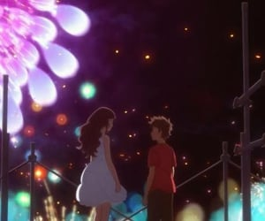 anime, fireworks, and love image