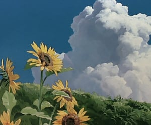 flowers, sky, and studio ghibli image