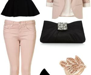 outfit, black, and pink image