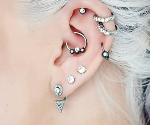 earrings, monochrome, and studded image