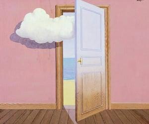 art, clouds, and door image