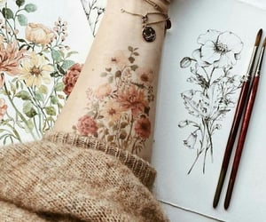 flowers, art, and tattoo image