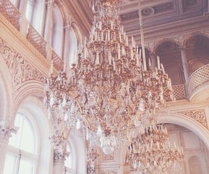 chandelier, rose gold, and decor image