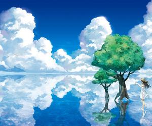 anime, sky, and tree image
