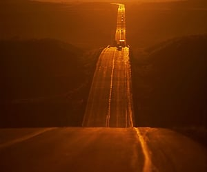 road, sun, and sunset image