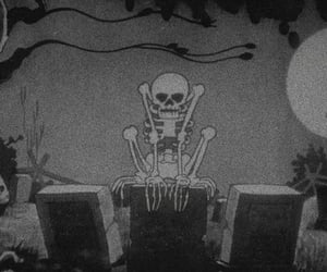 black, night, and skeleton image
