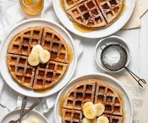 waffles, banana, and dessert image