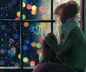 girl, heart, and rain image