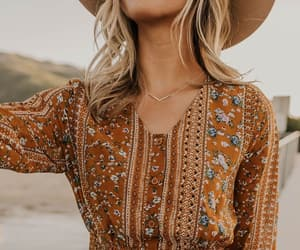 bohemian, dress, and floral image