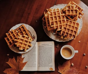 autumn, waffles, and book image