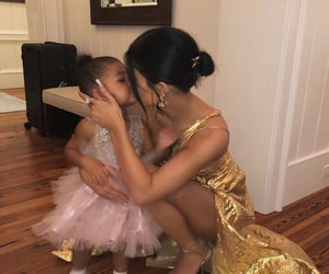cute baby, gold dress, and kylie jenner image