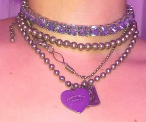 purple, aesthetic, and necklace image
