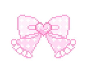 aesthetic, bow, and pixel image