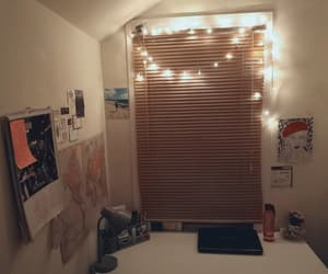 cozy, desk, and fairylights image