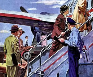 1950, american airlines, and vintage travel image
