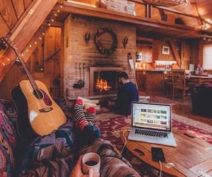 cozy, cabin, and coffee image