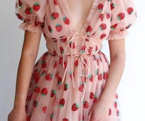 strawberry, dress, and fashion image