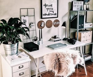 home, plants, and desk image