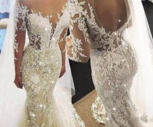 mermaid wedding dress, cheap bridal dress, and vestido de novia image