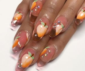 nails, peach, and acrylics image
