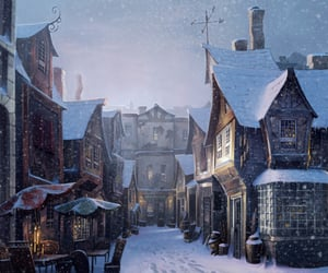 harry potter, diagon alley, and snow image