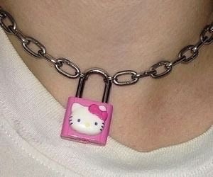 hello kitty, pink, and chain image