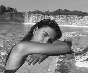 summer, black and white, and girl image