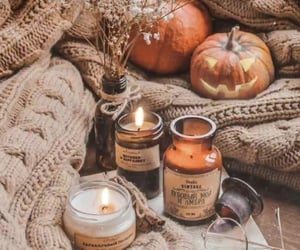 autumn, candle, and pumpkin image